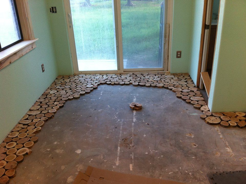 Cordwood flooring by Sunny Pettis Lutz in Cornville, AZ 2 step by step instrucitons work on 2 foot section at a time