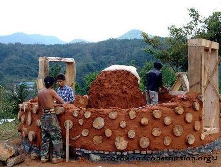 Cordwood in Korea log and soil houses with logo
