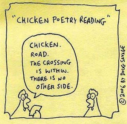 Chicken poetry reading 500 pixels