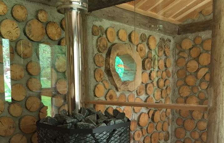 Swedish Cordwood Sauna by Pelle