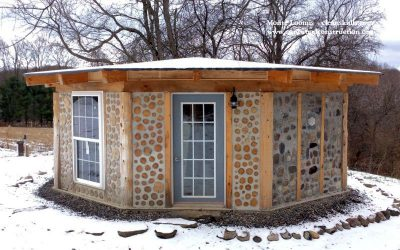 Cordwood Cabin with a Rock Wall, Birch Bark & Cordwood Tables