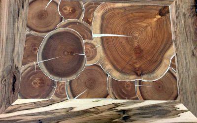 Cordwood Cabin/Rock Wall, Birch Bark & Cordwood Tables