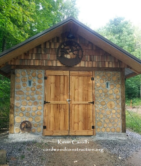 Cordwood Tool Shed built by Father & Son