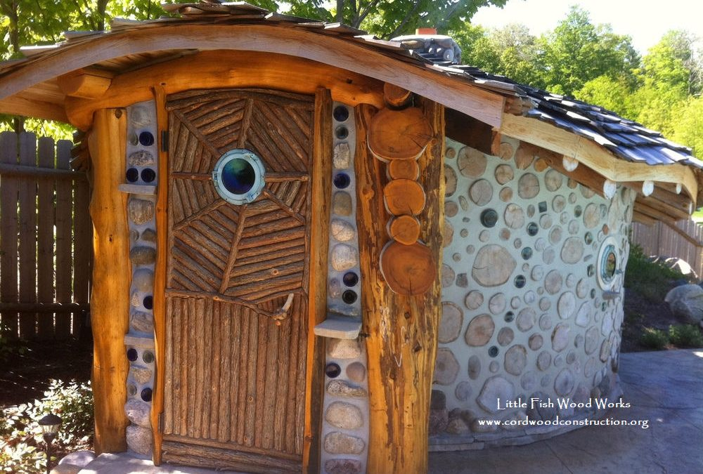 Cordwood Sauna by Little Fish Wood Works